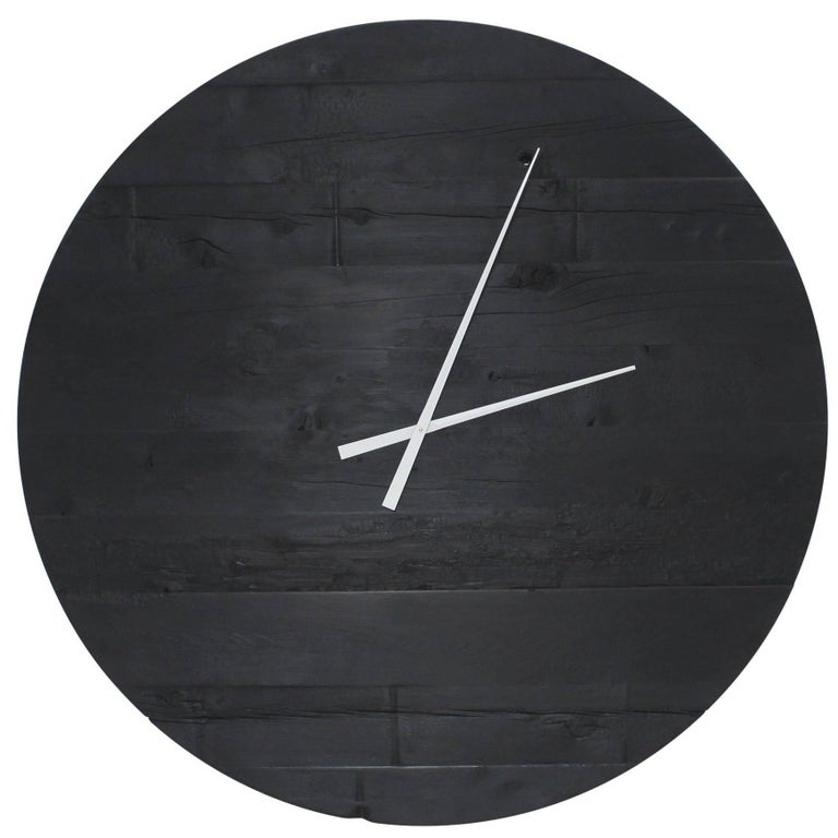 "Large Charred Cedar Wood ""Water Tower Clock"" For Sale"