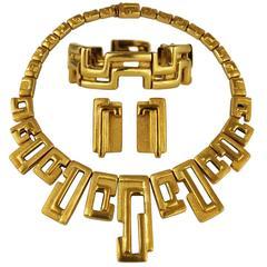 Burle Marx 18-Karat Gold Necklace Bracelet Clip on Earrings Suite Modern Vintage