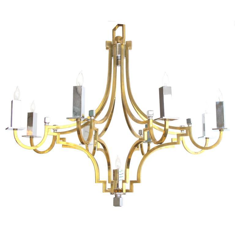Stylish French 1960s Brass and Chrome Nine-Light Basket-Form Chandelier