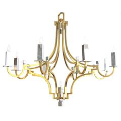 Stylish French 1960s Brass and Chrome Nine-Light Basket-Form Chandelier
