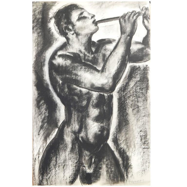 """""""Nude Pan Figure with Pipe,"""" Fabulous, Large Art Deco Mythological Drawing For Sale"""
