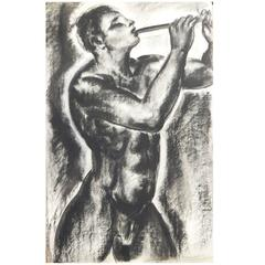 """Nude Pan Figure with Pipe,"" Fabulous, Large Art Deco Mythological Drawing"