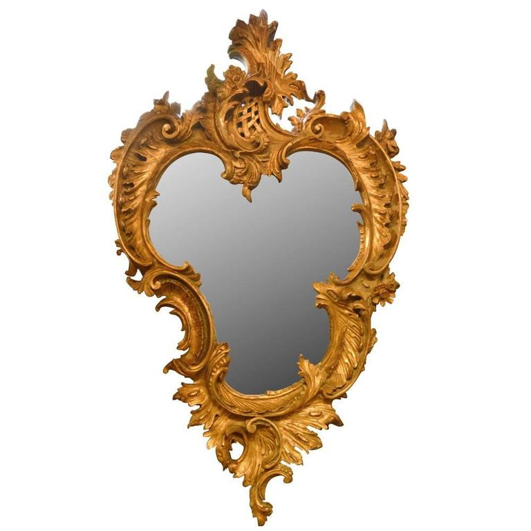 Antique Hand-Carved French Gilt Louis XV Mirror For Sale