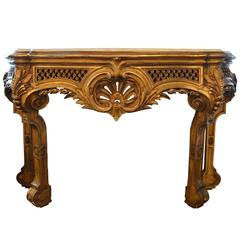 Antique Louis XV Style Hand-Carved Gold Gilt Marble-Top Console
