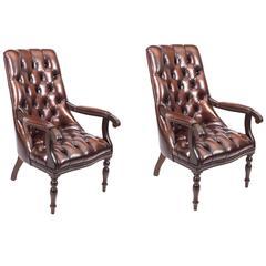 Pair English Handmade Carlton Leather Desk Chairs BBO