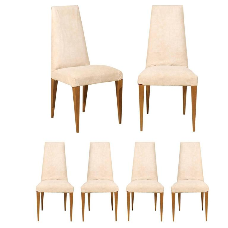 Set of Six French Modern Slip Covered Side Chairs