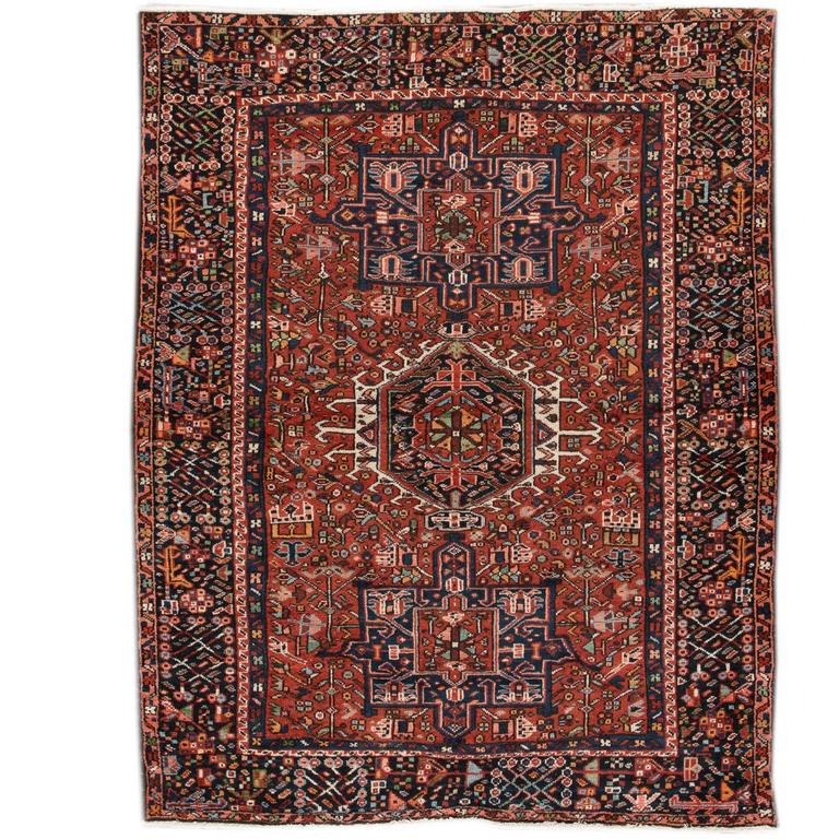 Antique Rust Heriz Rug