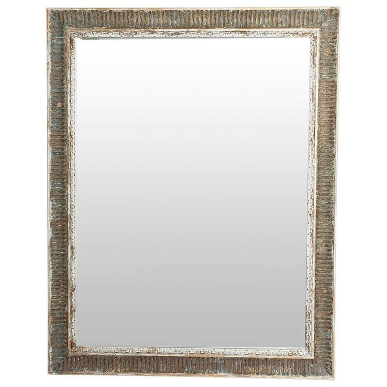 Large Antique Distressed Wood Framed Mirror At 1stdibs