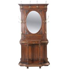French 19th Century Walnut Hall Tree