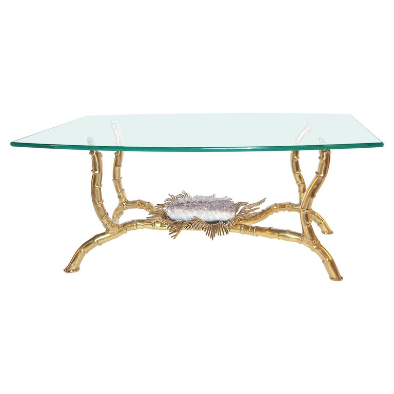 Jacques Duval Brasseur Brass Organic Coffee or Cocktail Table with Amethyst For Sale