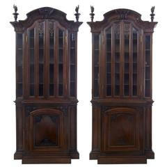 19th Century Matched Pair of French Carved Oak Bookcase Cabinets