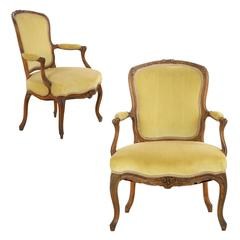 Pair of Louis XV Period Carved Fauteuils Armchairs, Late 18th Century