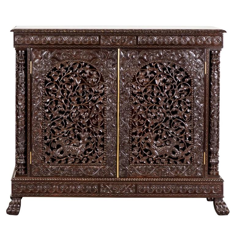 Antique Anglo Indian Or British Colonial Rosewood Cabinet