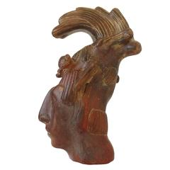 Aztec Mayan Style Terra Cotta Sculpted Head of King Pacal of Palenque
