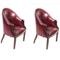 Bespoke Pair English Handmade Leather Desk Chairs Burgundy