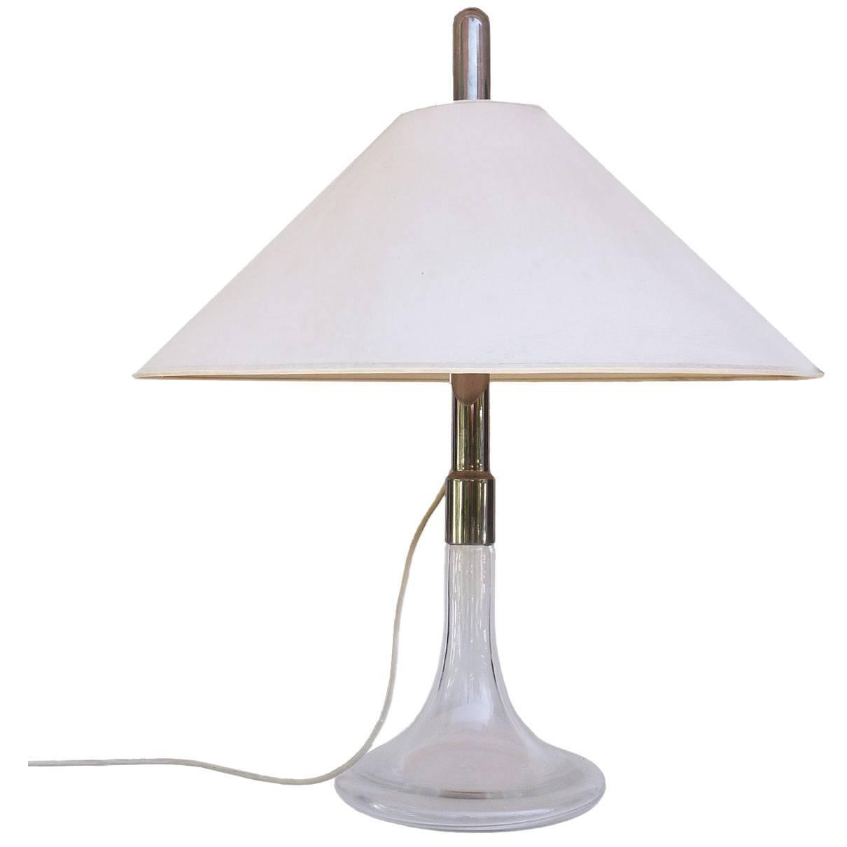 Ingo Maurer Table Lamp Glass & Chrome, Design M, Germany, 1960s