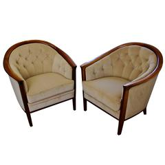 Pair of Swedish Wood Tub Chairs by Bertil Fridhagen, circa 1960