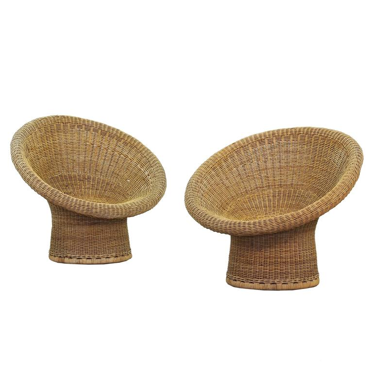 pair of wicker lounge chairs by egon eiermann for heinrich murmann 1957 germany at 1stdibs. Black Bedroom Furniture Sets. Home Design Ideas