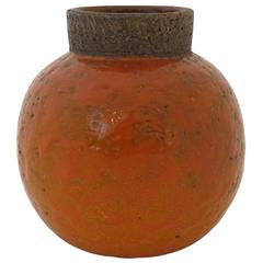 Bitossi Raymor Ceramic Vase Orange Spherical Signed, 1960s, Italy