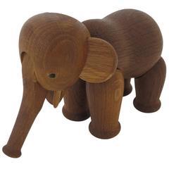 Kay Bojesen Oak Elephant Signed, Denmark, 1960s