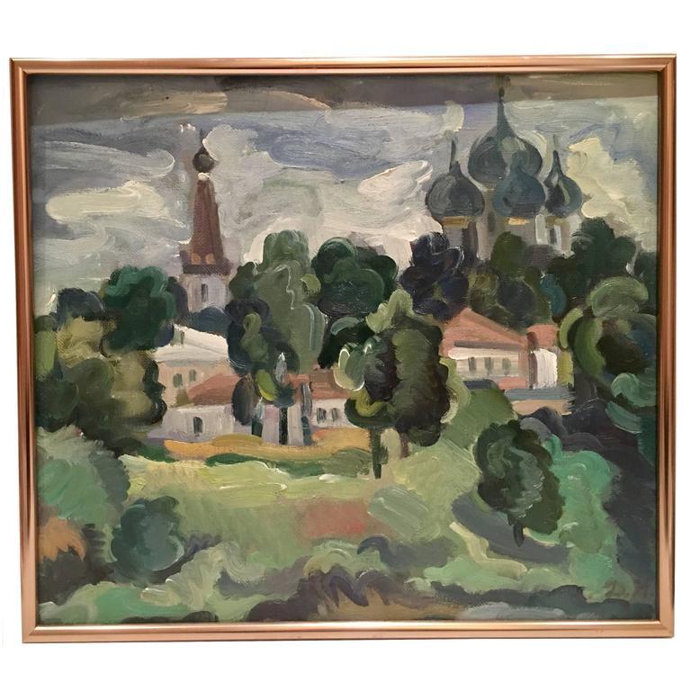 90'S Original Oil On Burlap Painting Landscape Painting By, D.H