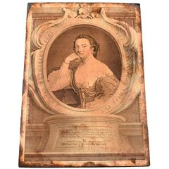 Original Copper Engraving Plate Lady Charlotte Finch, 1755