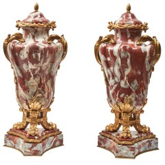 Pair of Large Louis XV Style Languedoc Marble Cassolettes, 19th Century