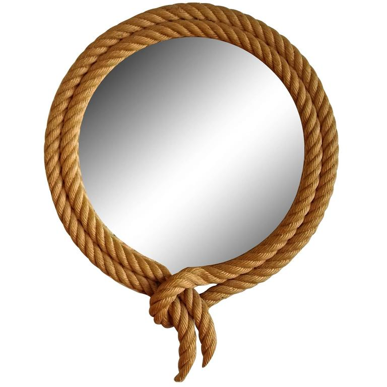 Petite Rope Mirror by Audoux Minet, France, 1960s