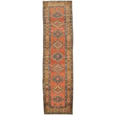 Antique Hand-Knotted Persian Bakshayesh Runner Rug