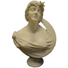 Fine Quality 19th Century Italian Marble Bust of a Young Beauty with Moon Crest