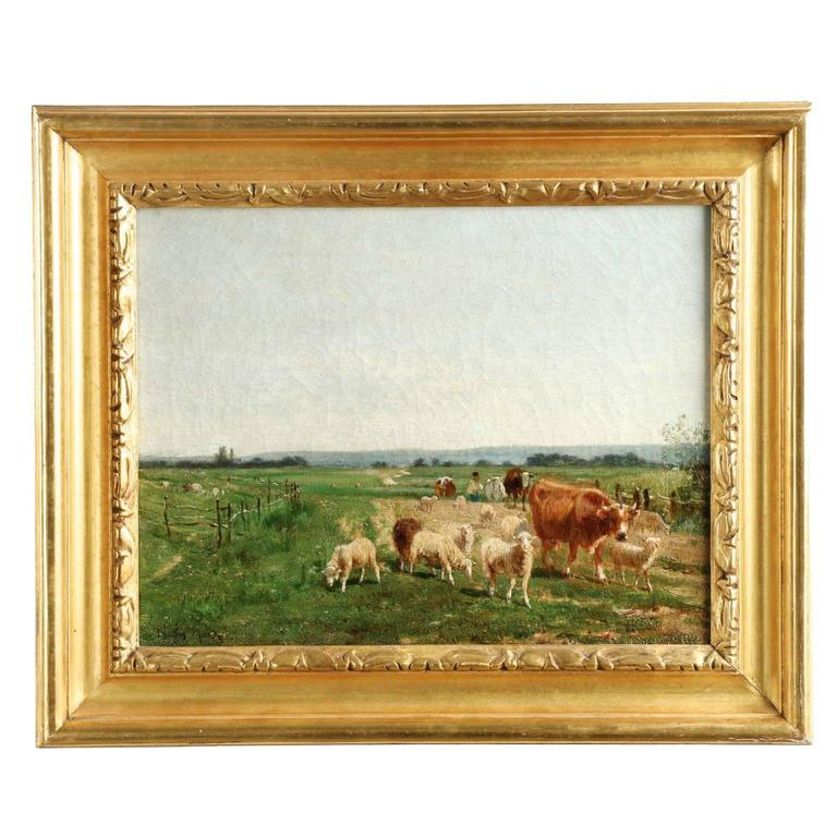 Fine Antique Painting Of Herding Cows And Sheep By Emile Van