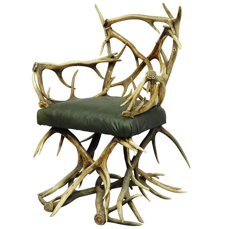 Antique Rustic Antler Chair, circa 1880