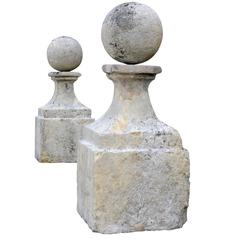 Important Pair of Square Stone Balusters, 18th Century