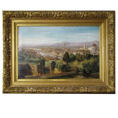19th Century Italian Landscape Depicting Florence Dated and Signed in Gilt Frame