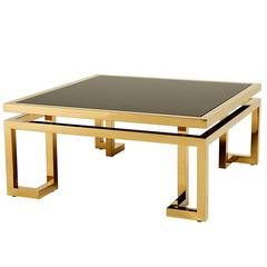 Angles Coffee Table Gold Finish with Black Glass