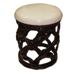 Chic Black Resin Ribbon Stool Seat
