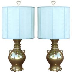 Mid-Century Modern Marbro Brass Vessel Form Table Lamps