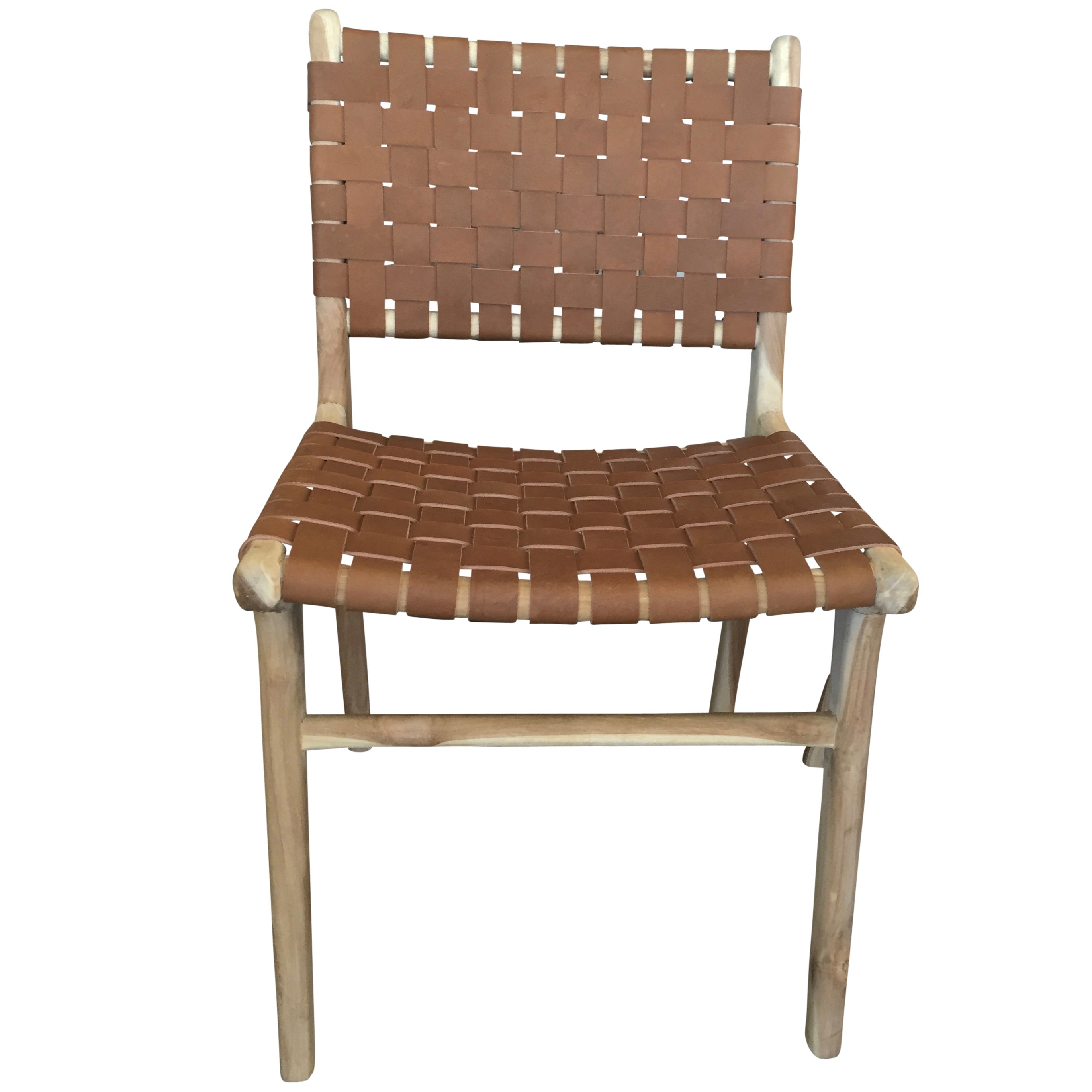 Phenomenal Set Of Six Flora Leather Strap Woven Dining Chair Haskell Evergreenethics Interior Chair Design Evergreenethicsorg