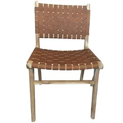 Set of Six Flora Leather Strap Woven Dining Chair Haskell
