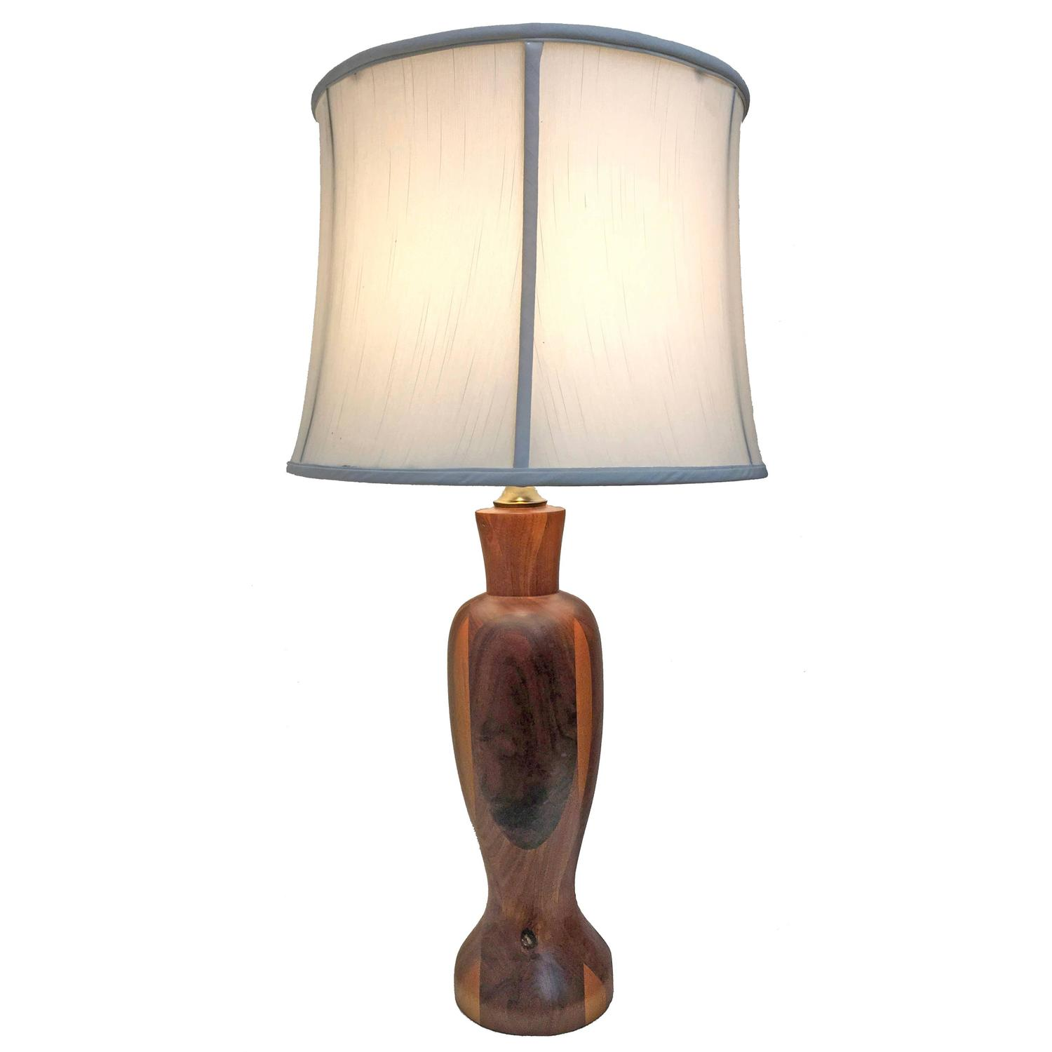 walnut and mixed wood custom made table lamp for sale at 1stdibs. Black Bedroom Furniture Sets. Home Design Ideas