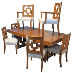 Modernist Teak Dining Table with 12 Matching Chairs