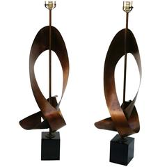 Pair of Large Harry Balmer for Laurel Lamp Sculptural Metal Ribbon Lamps
