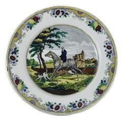 French Transferware Horseman Hunter Platter Choisy Le Roi, circa 1840