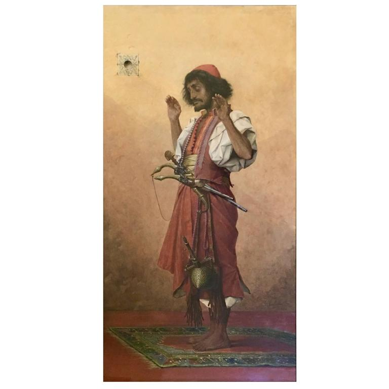 """Arab Soldier in Prayer"", 1899, by Belgian Painter thé Ophile Lybaert"