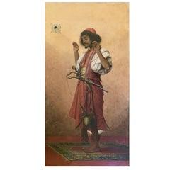 """Arab Soldier in Prayer"" by Belgian Painter Théophile Lybaert - Belgium 1899"