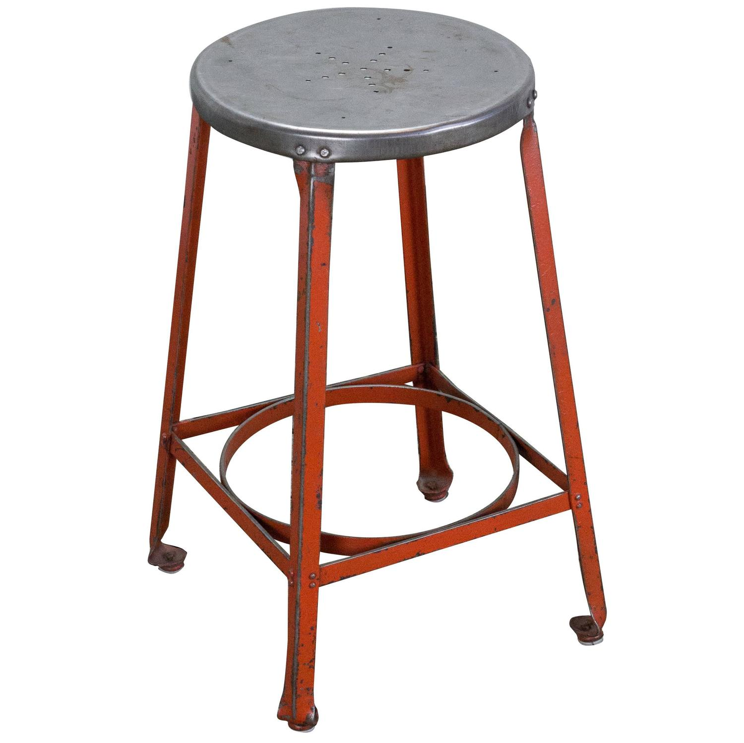 Industrial Stool with Red Legs For Sale at 1stdibs : ST121104orgz from 1stdibs.com size 1500 x 1499 jpeg 105kB