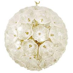 Murano Glass Flowers Chandelier in the Style of Venini