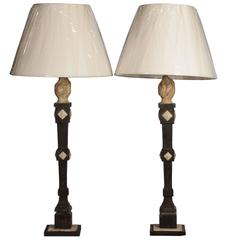 Pair of Black and White Painted Carved Wood Table Lamps