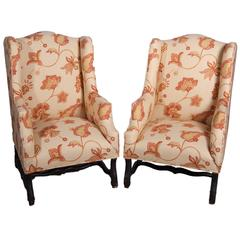 Pair of Louis XIII Style Wing Chairs