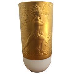 Bjorn Wiinblad for Rosenthal Porcelain and Gold Vase